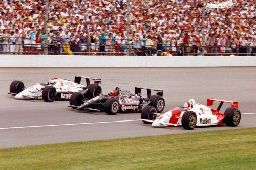 De eerste startrij van de 1991 Indy 500: Mario  Andretti, A. J. Foyt en Rick  Mears