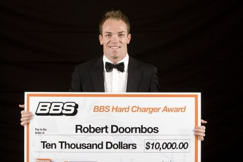 Robert Doornbos met de Hard Charger Award