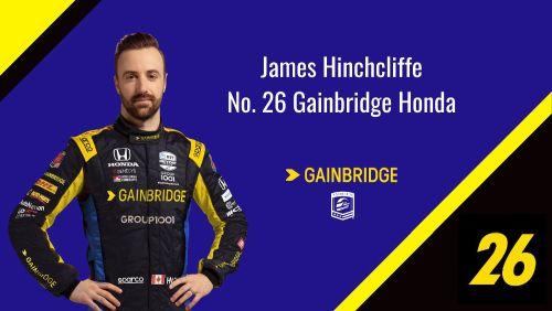 James Hinchcliffe in de Gainbridge kleuren