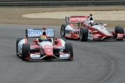 Justin Wilson vlak voor Juan Pablo Montoya, Barber Motorsports Park
