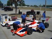 De bolide van Junior Strous staat klaar voor de test op Sebring