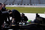 Alex Tagliani test de Lotus testwagen in Texas