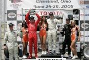 Charles Zwolsman op het podium van de eerste race in Cleveland