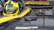 Bruno Junqueira tijdens de open test op Sebring