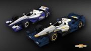 De standaard Dallara DW12 in vergelijking met het nieuwe aero pakket van Chevrolet
