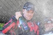 Robert Doornbos viert zijn overwinning in Jerez