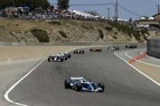 Patrick Carpentier leidt de race op Laguna Seca