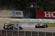 Josef Newgarden spint tijdens de openingsronde op het Barber Motorsports Park