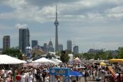 De skyline van Toronto met in de in het oog springende CN Tower